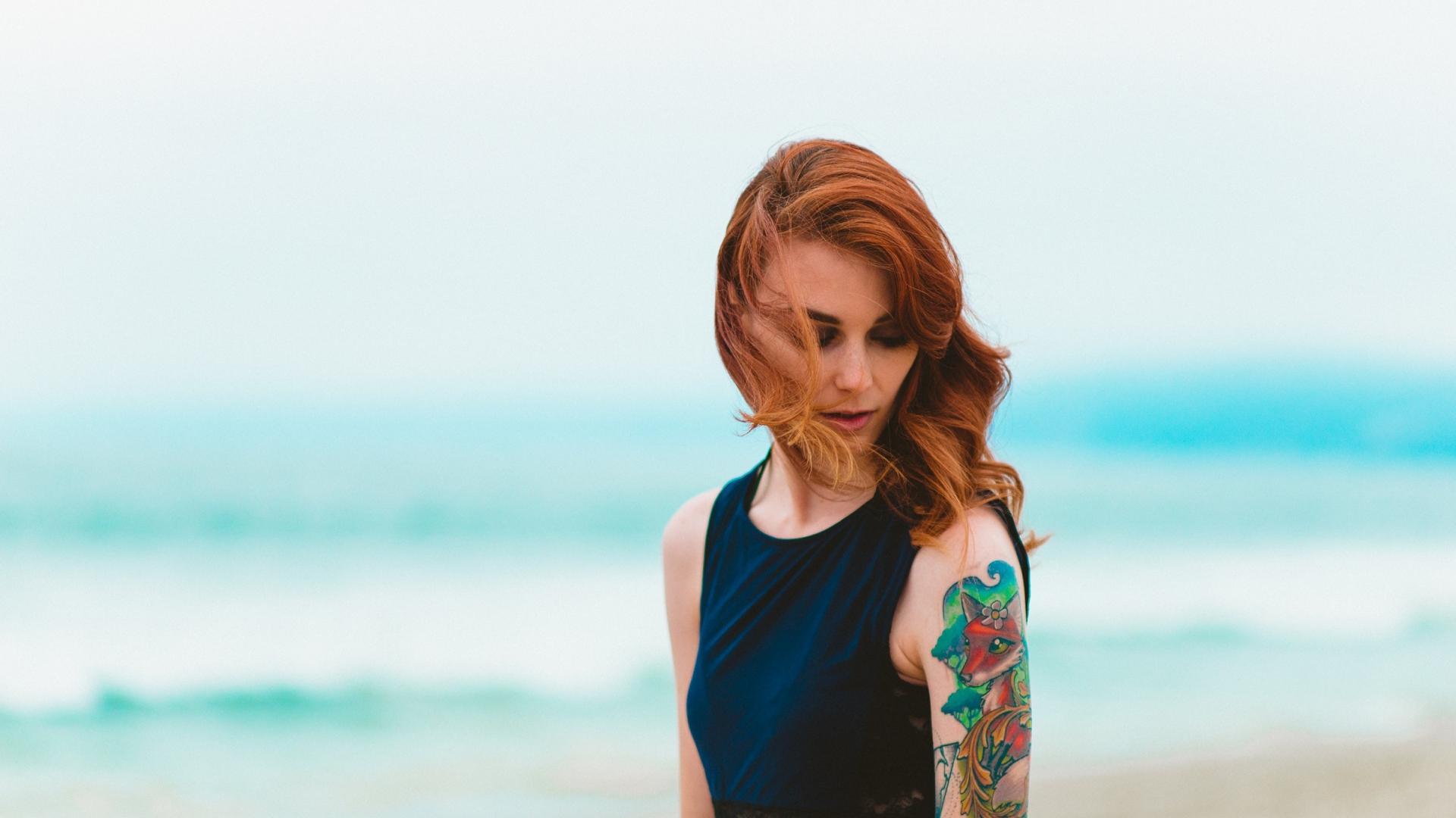 Frau Tattoo traditionell Fuchs