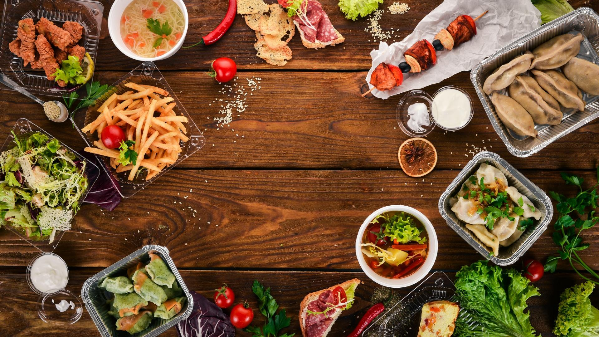Essen Verpackungen Tisch