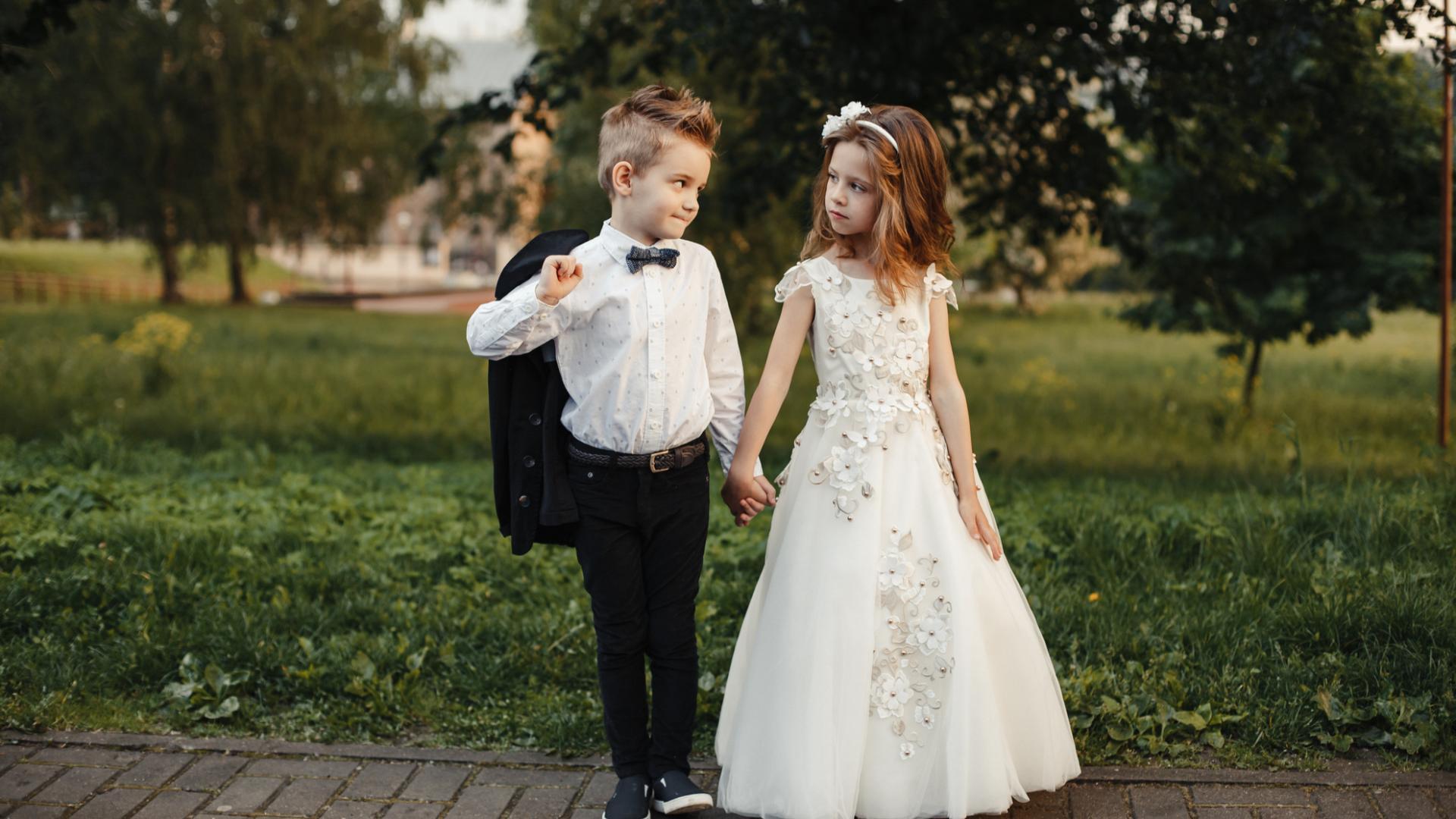 Mädchen Junge Hochzeit