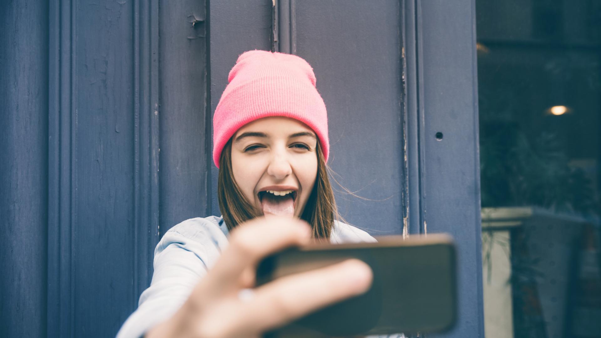 Mädchen Selfie Grimassen