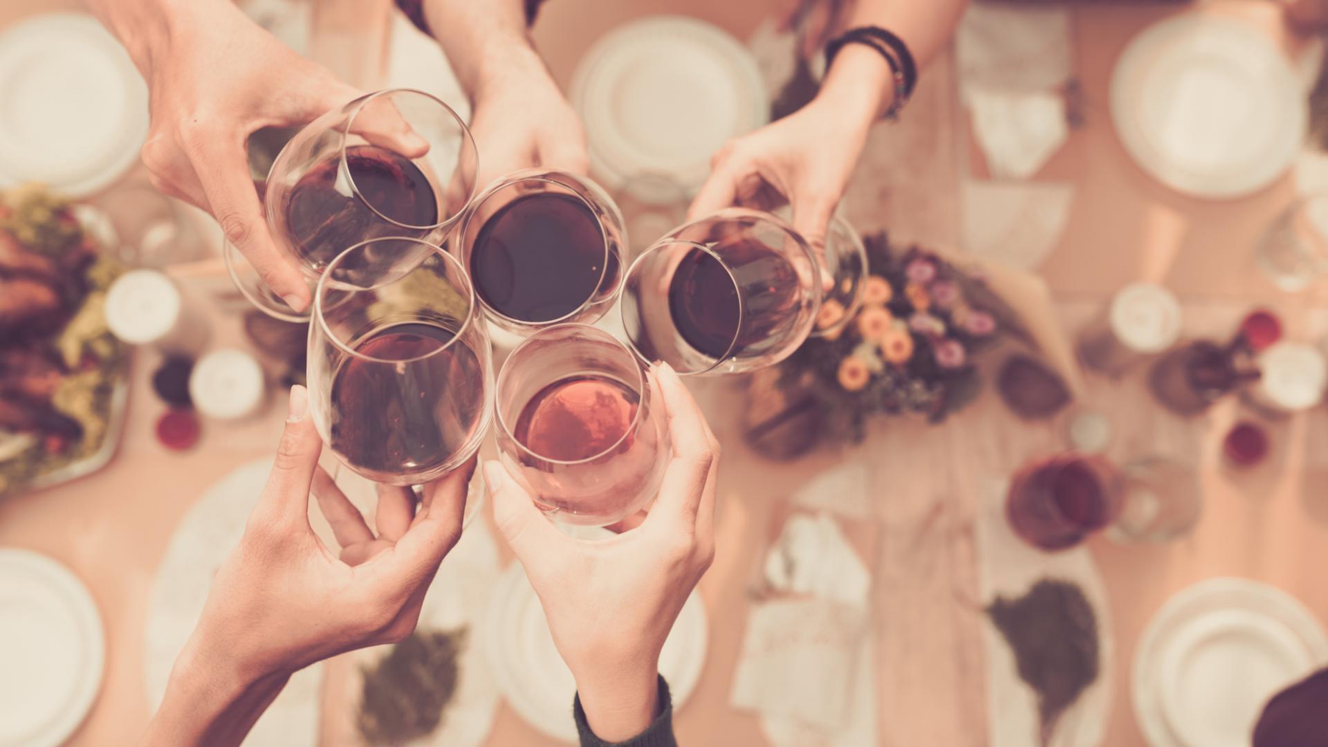 Wein Weingläser Gruppe