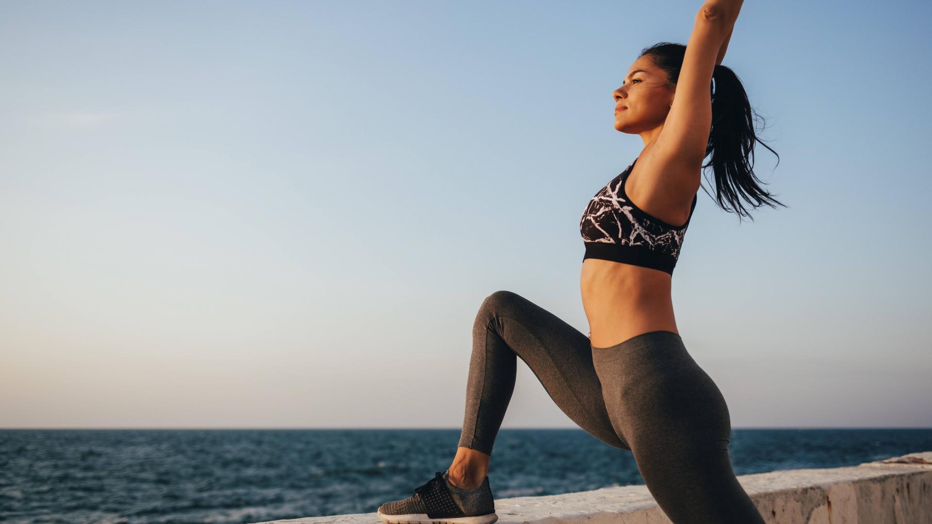 Yoga, Frau, Meer, Sport, Workout, gesund.