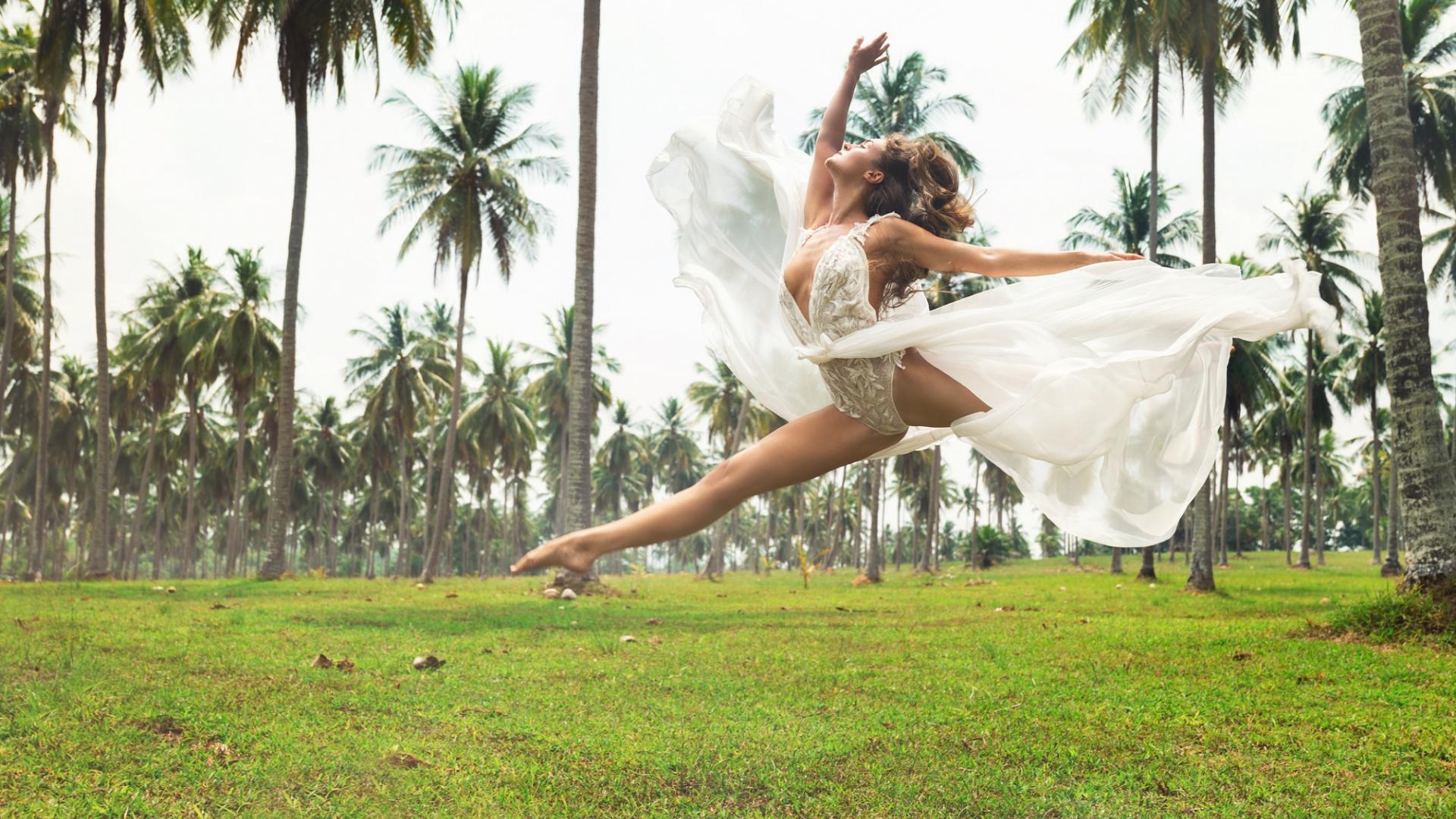Frau, Hochzeit, Sport Natur