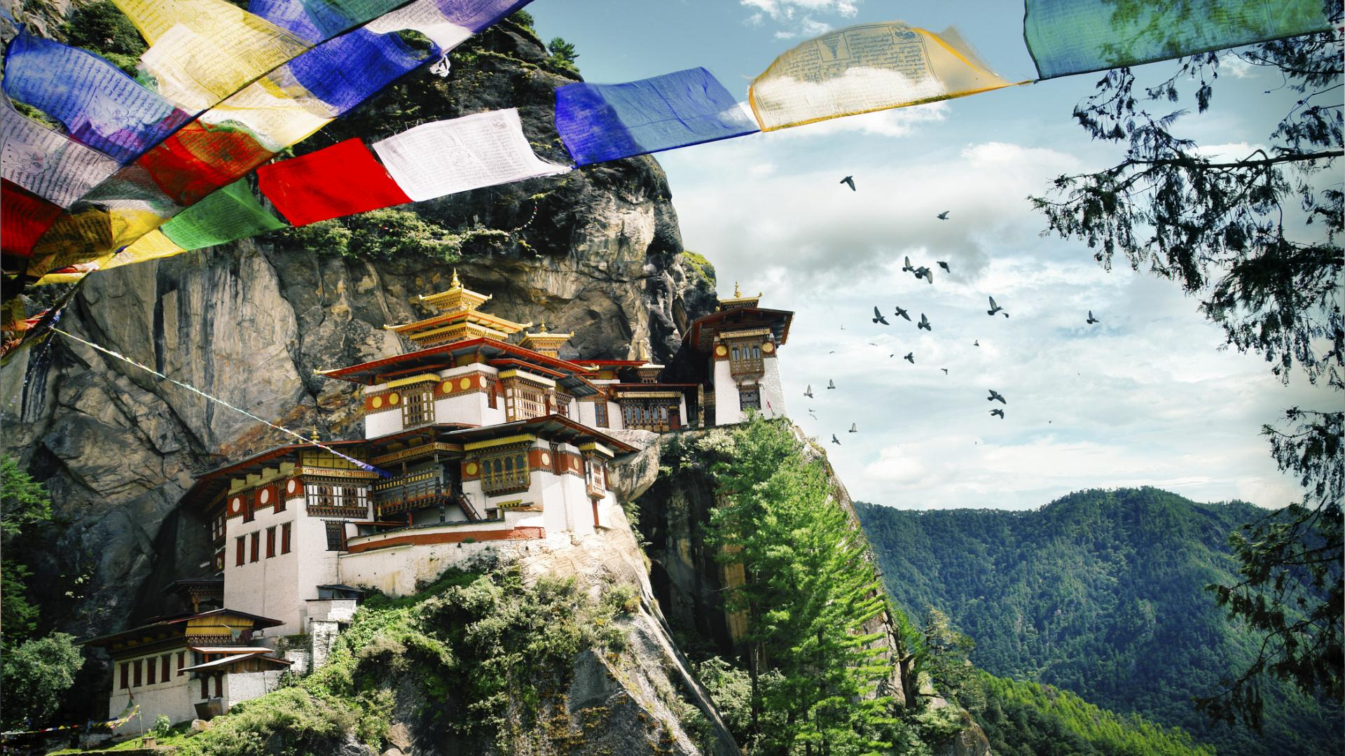 Tiger's Nest in Bhutan Himalaya Berge