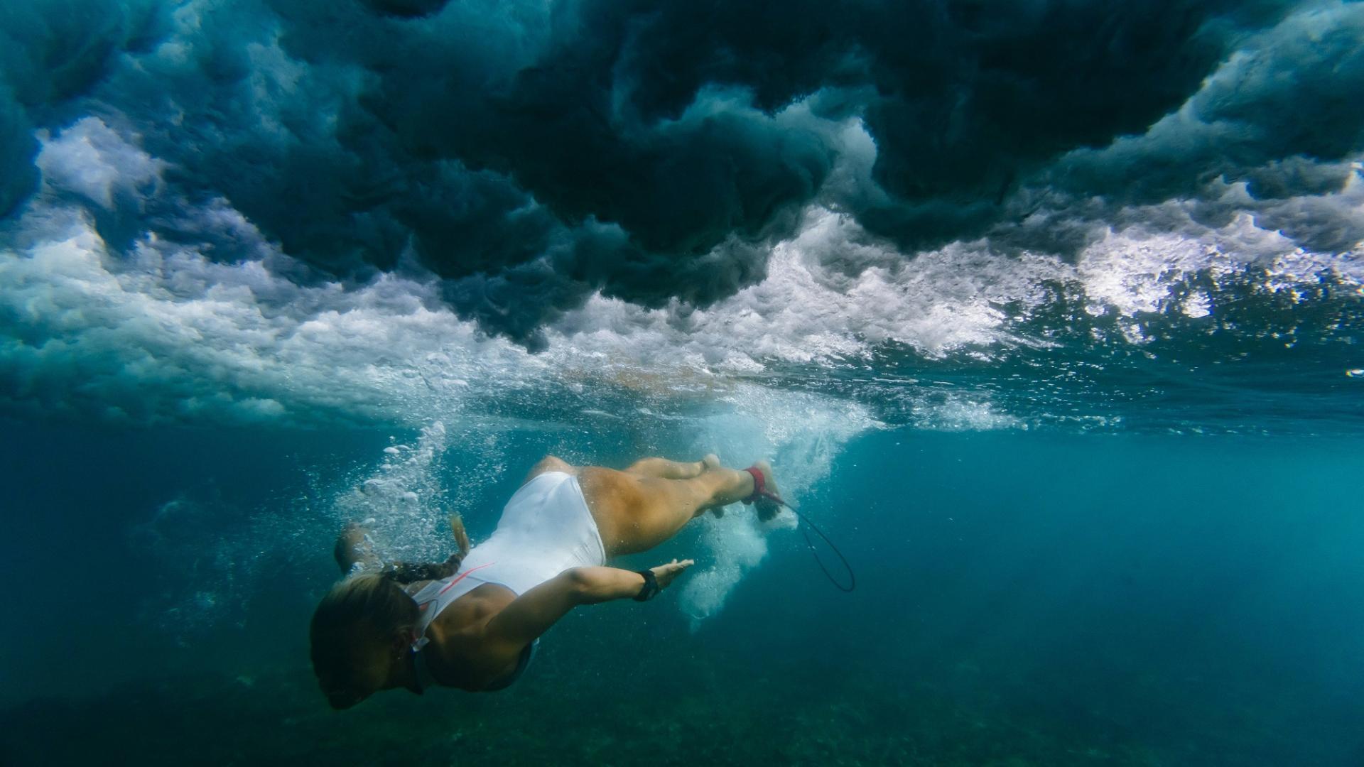 Frau, Meer, Wasser, Tiefe