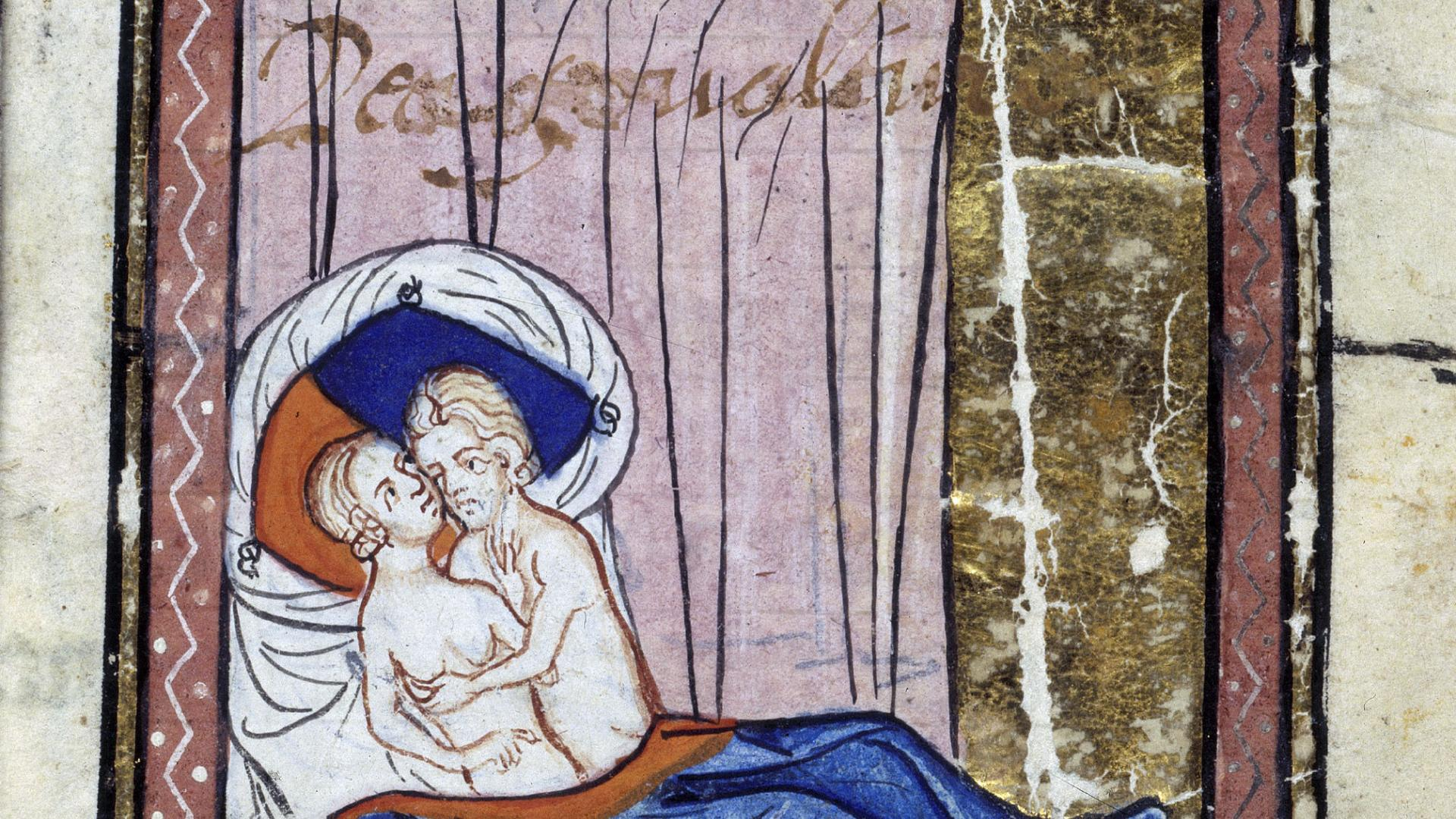 Verhütungsmethoden im Mittelalter. vintage drawing