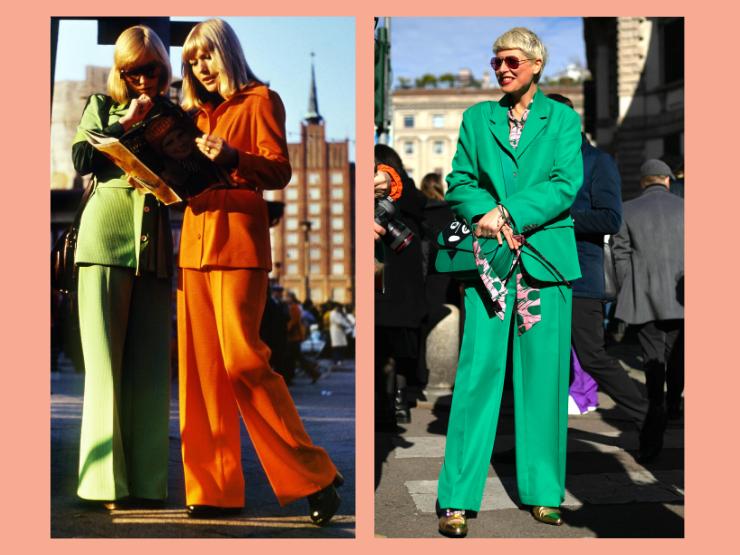 70er Jahre Mode, bunte Hosenanzüge