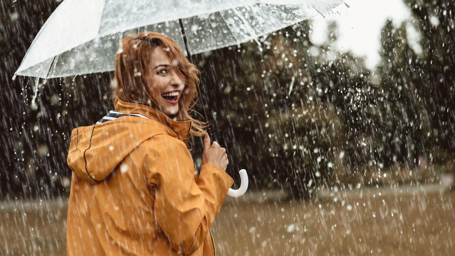 Frau, Regen, Herbst