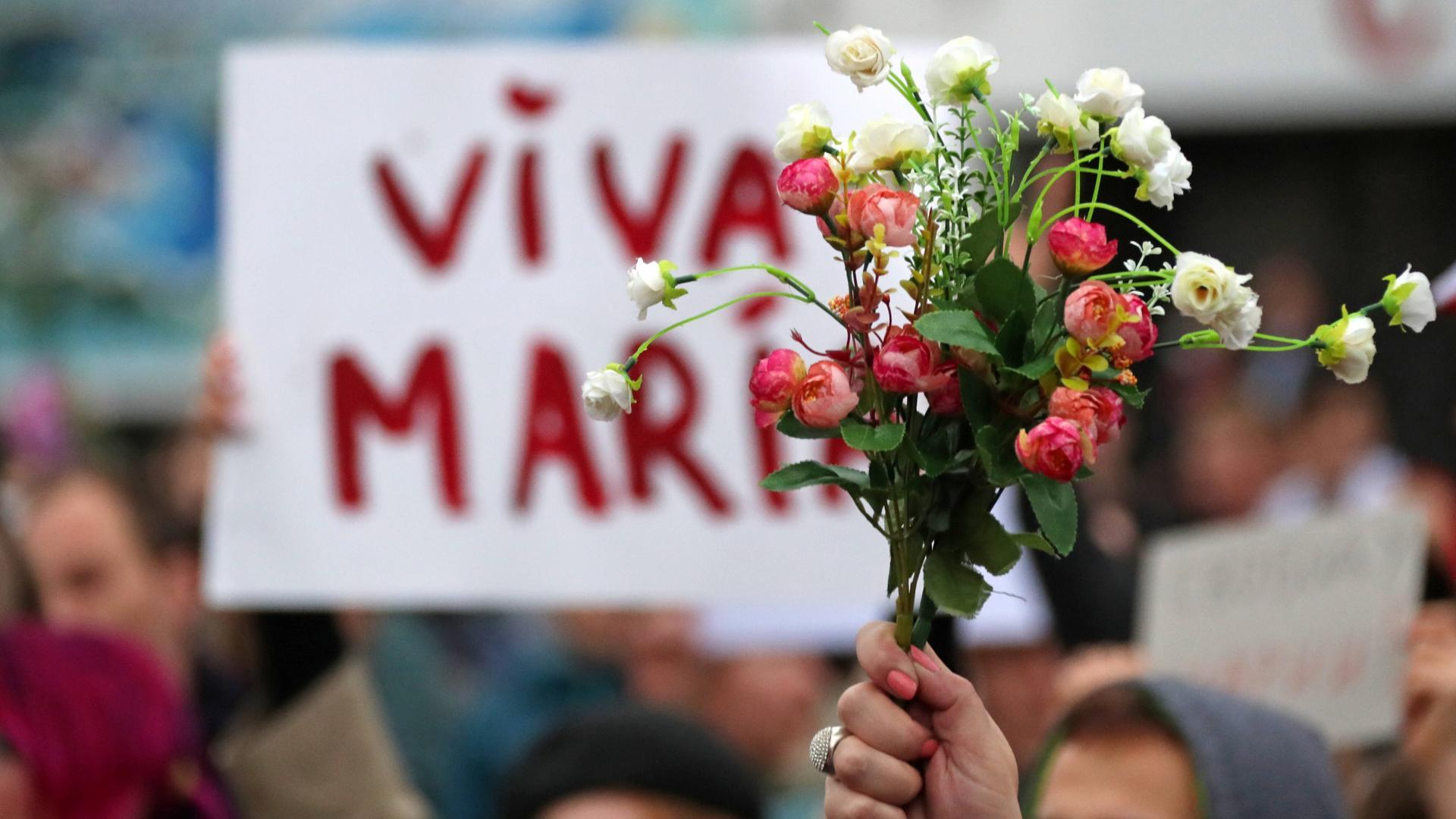 Maria Kolesnikowa, Belarus, Protest, Blumen