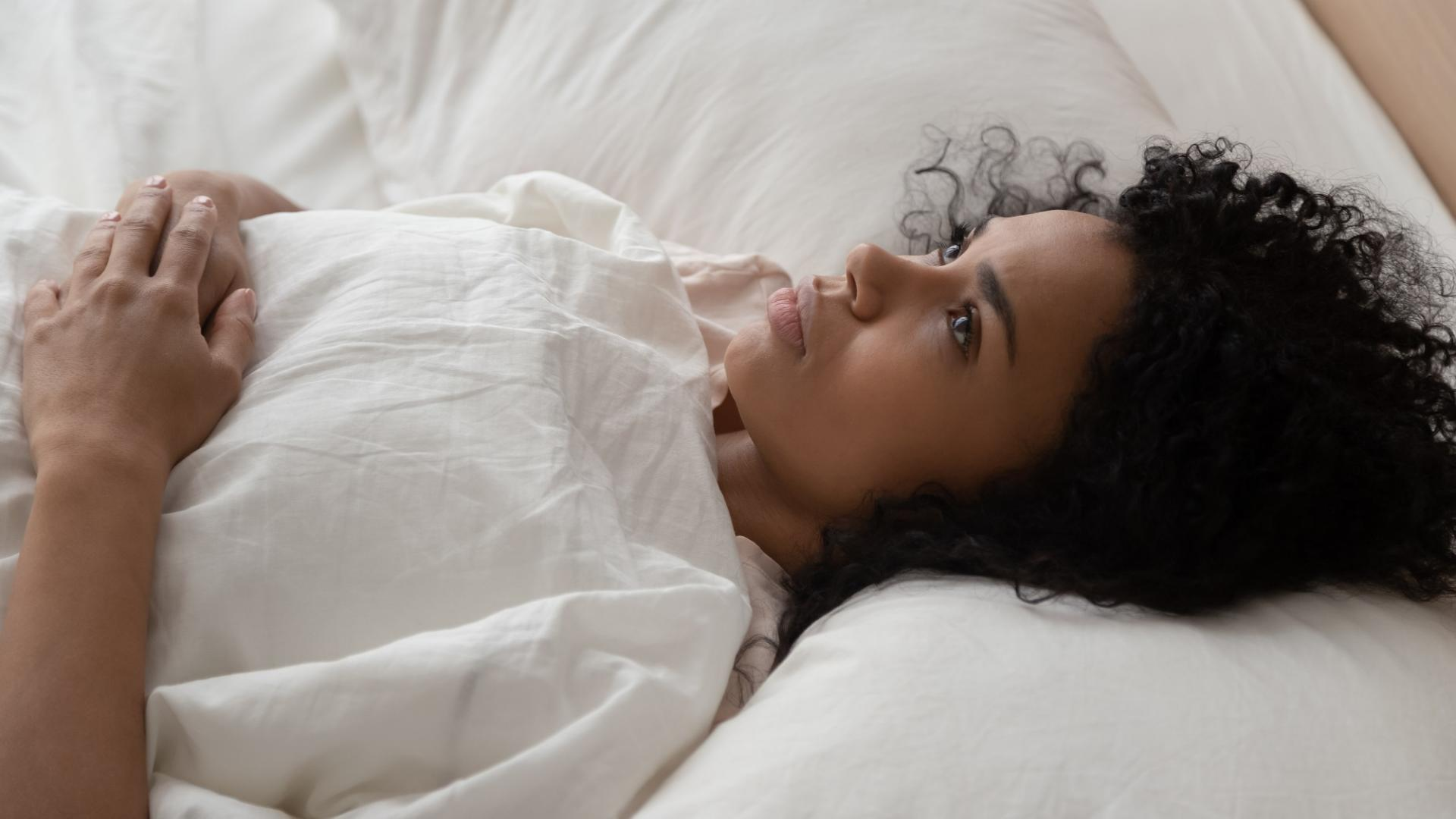 Frau, Periode, Bett
