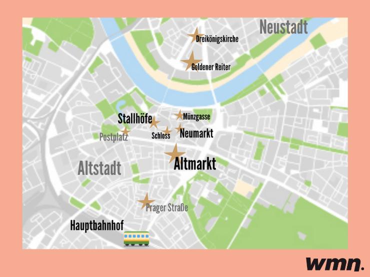 Karte der Dresdner Weihnachtsmärkte