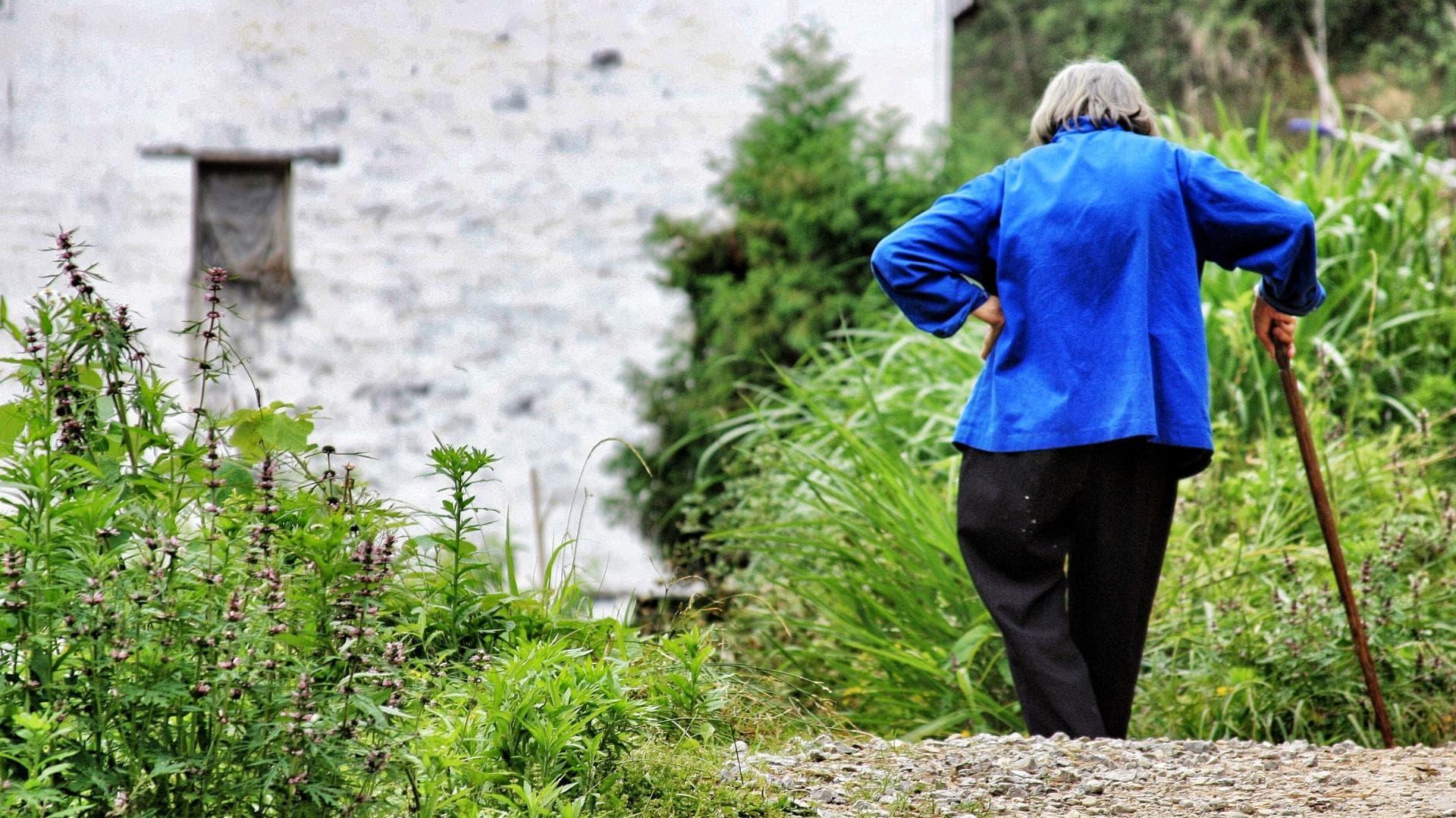 ältere Menschen Senioren Krückstock