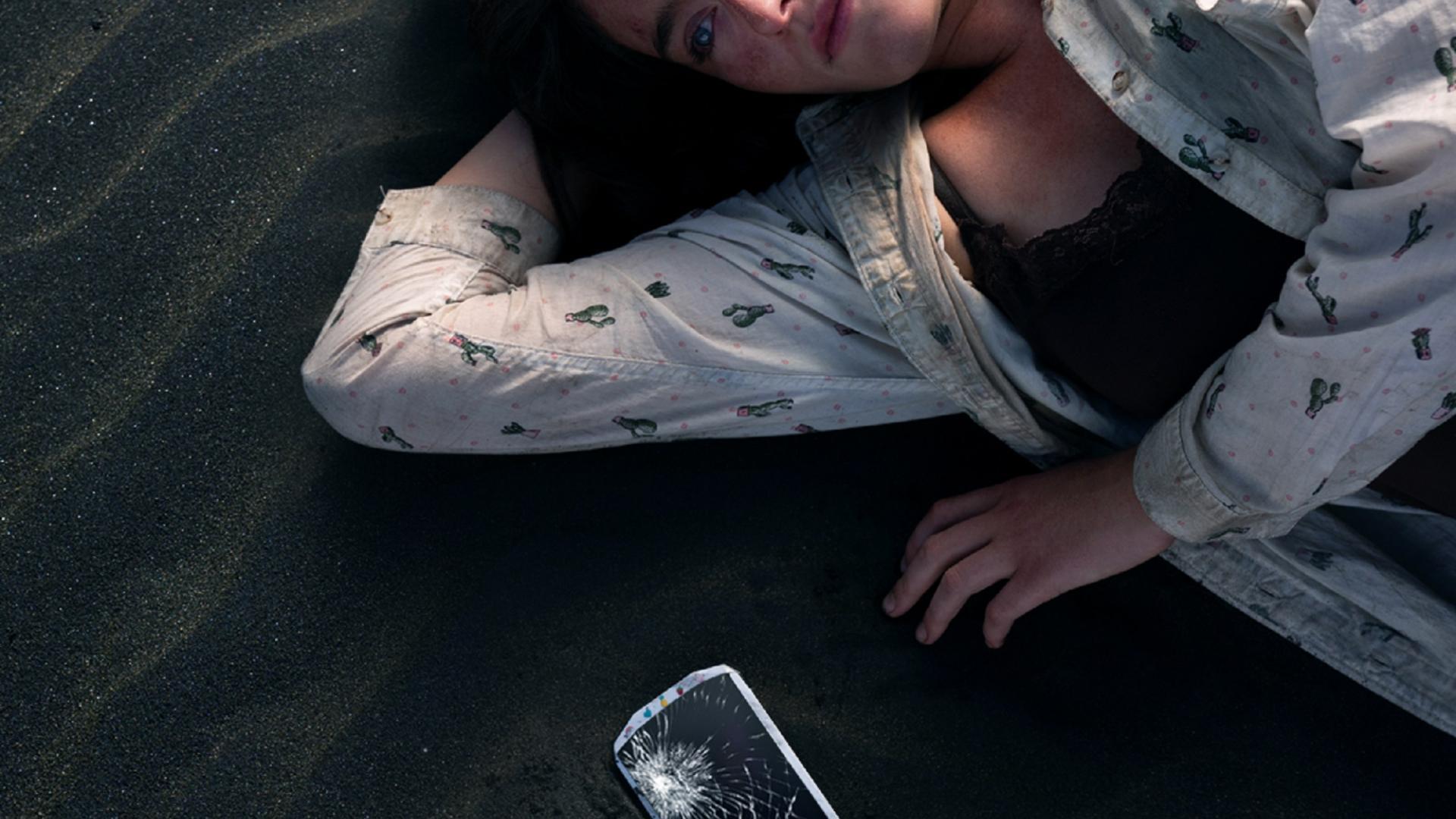 Serie, Mädchen, Strand, Handy