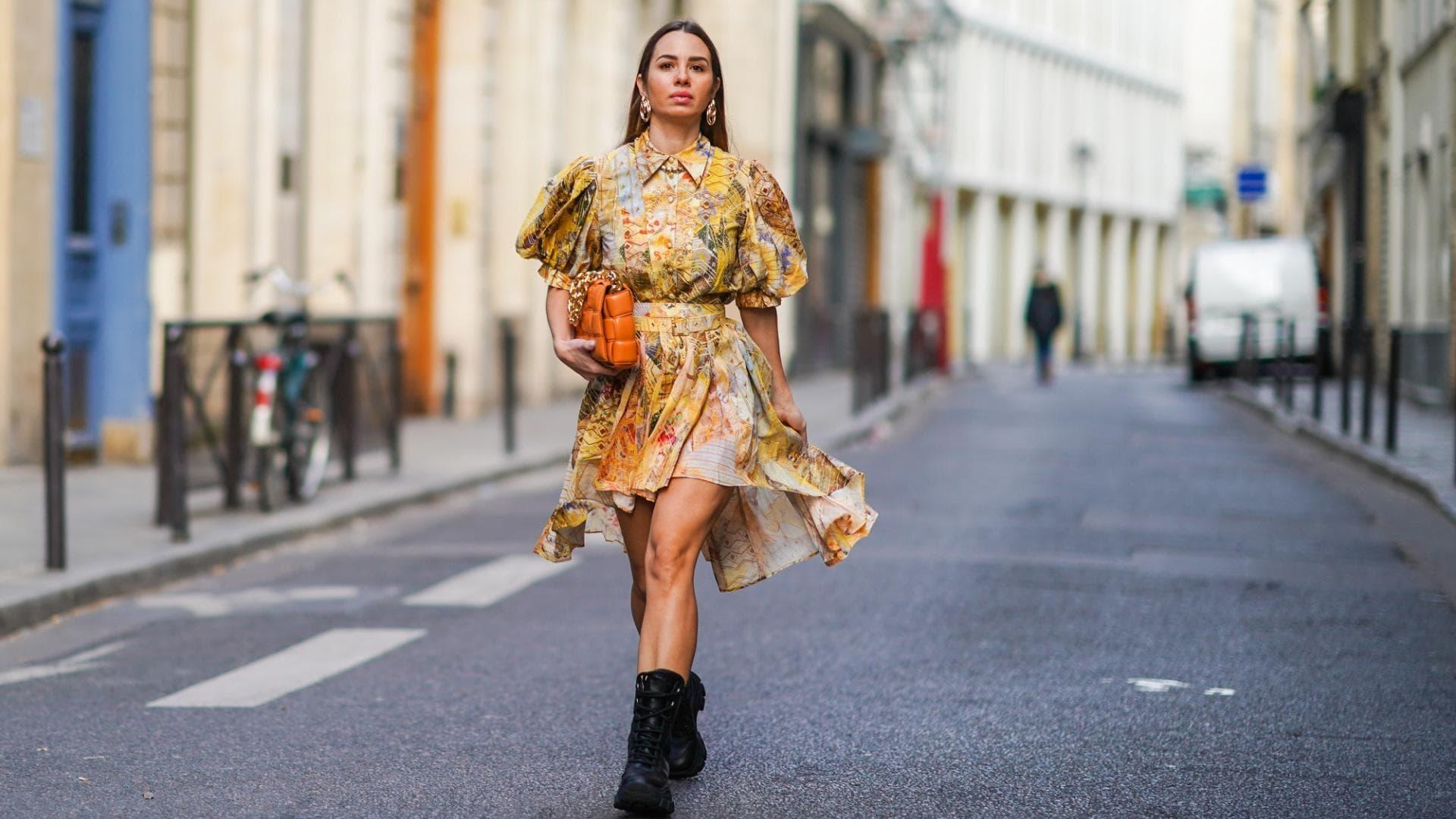 Fashion 2020, Kleid, Puffärmel, Print