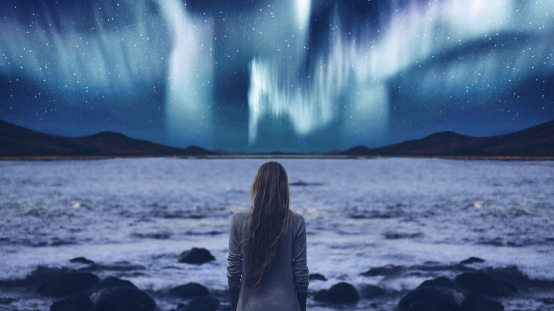 Polarlicht Frau
