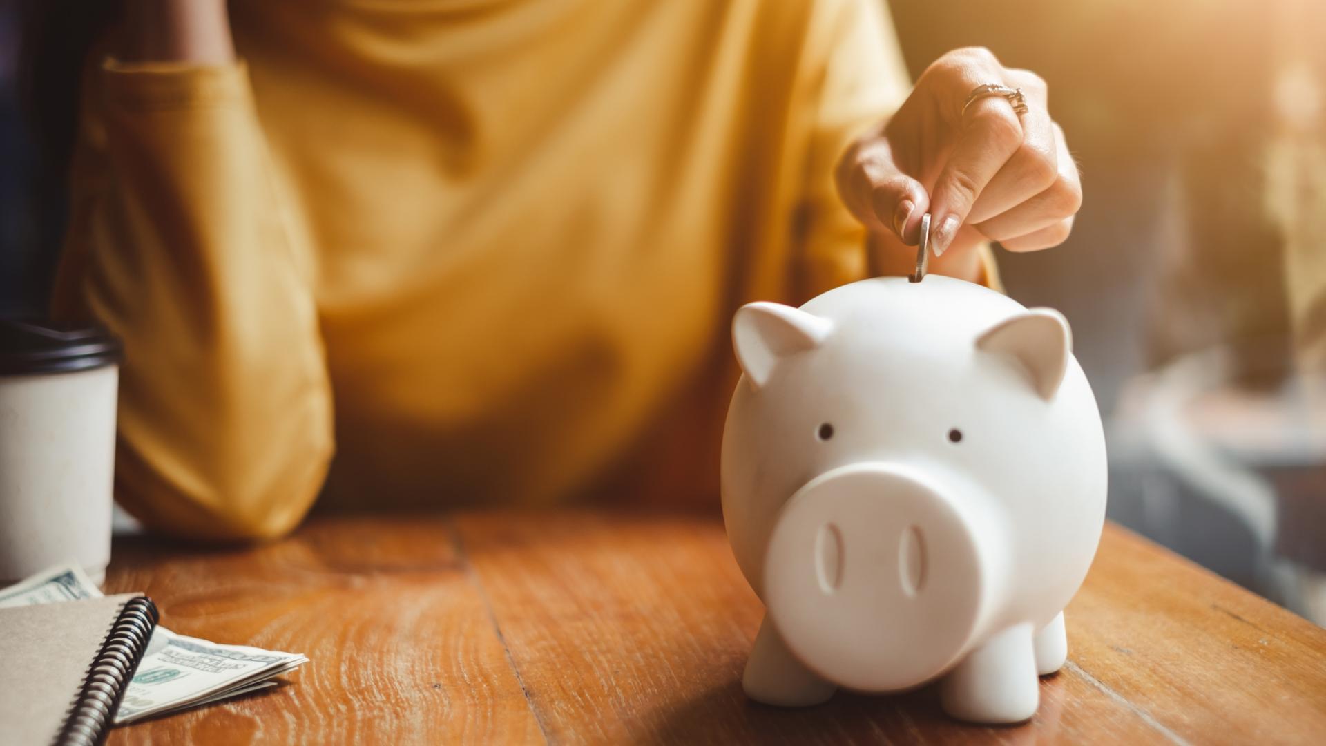 nachhaltige banken sparschwein tisch geld frau