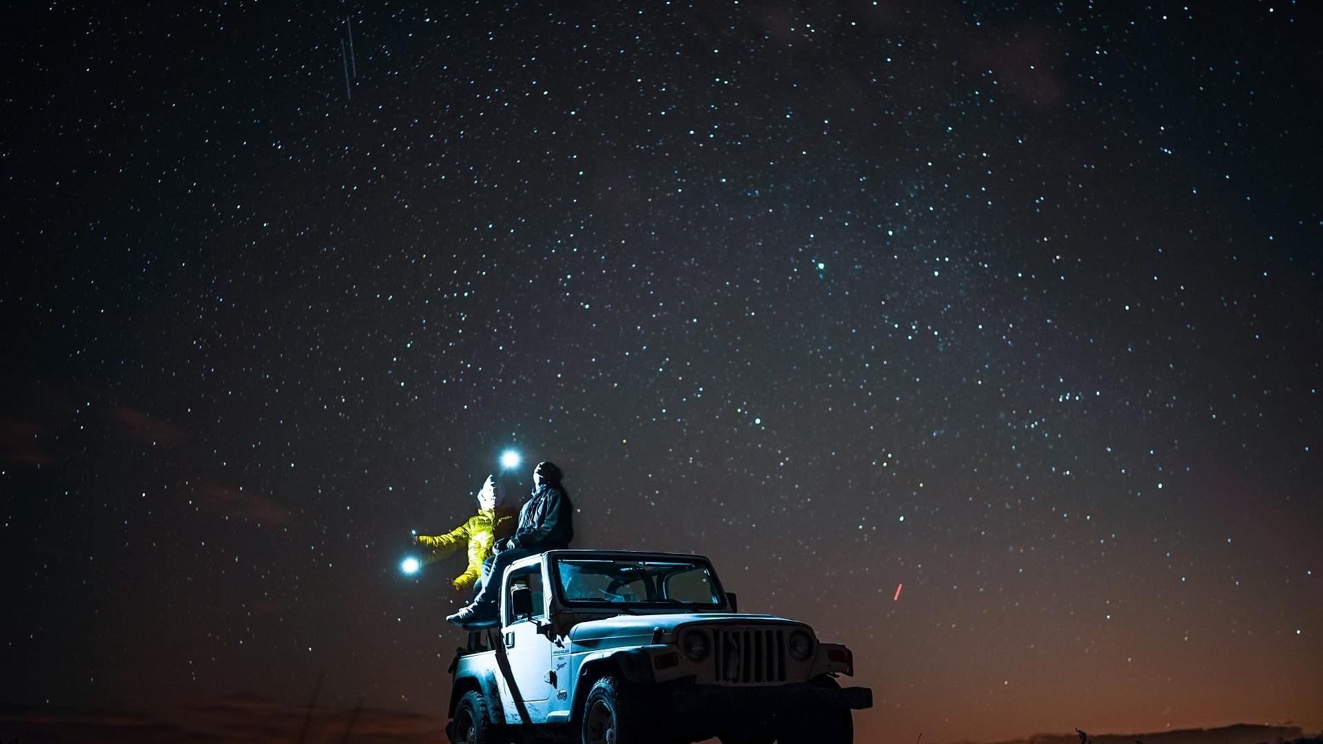 auto sterne gucken nacht couple