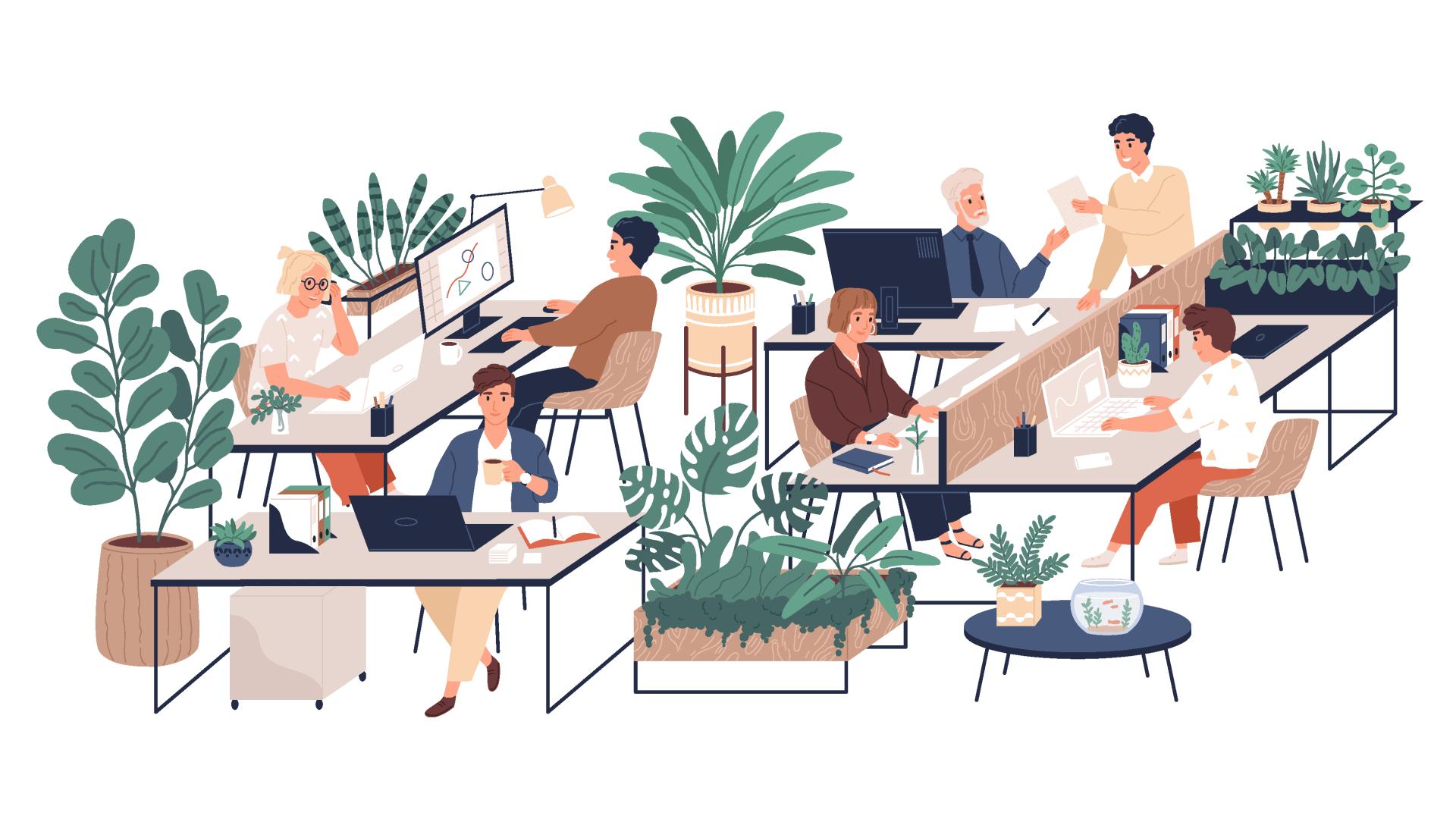 illustration workspace arbeiten grünes büro pflanzen