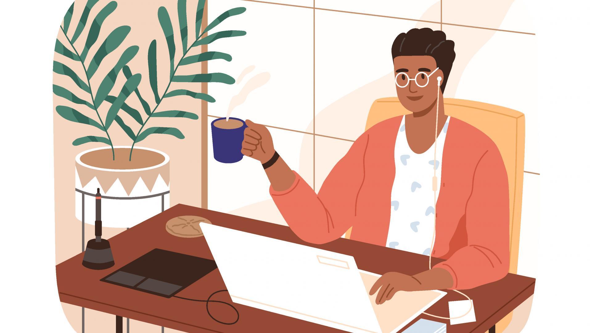 illustration black mann kaffee laptop arbeiten pflanze