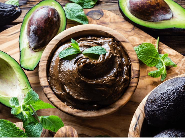 avocado schoko creme minze schale
