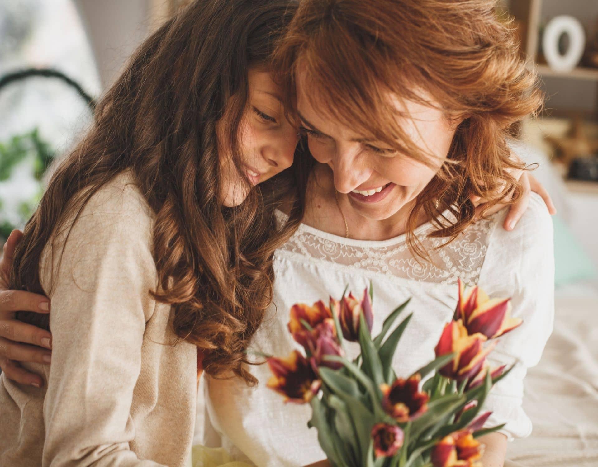 Muttertag Blumen Mama Tochter Tulpen