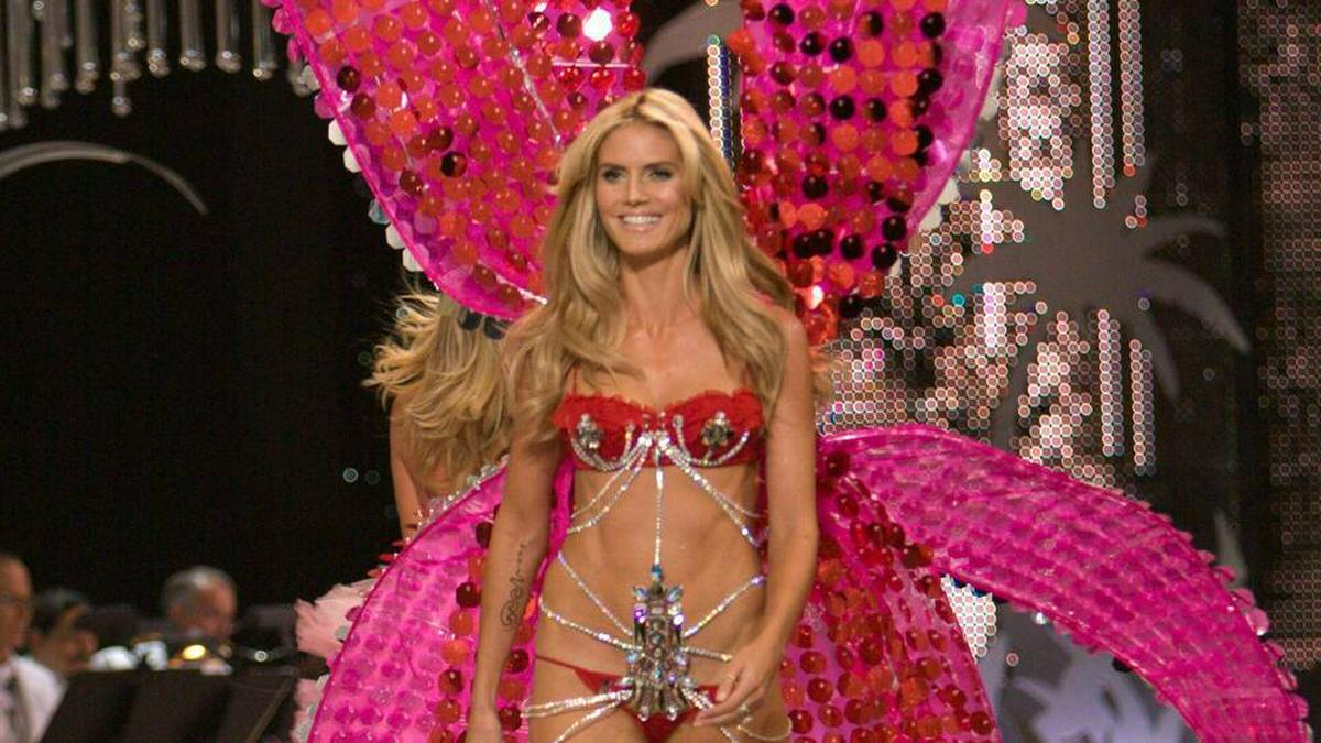 """Heidi Klum präsentierte von 1999 bis 2010 als """"Victoria's Secret""""-Engel Unterwäsche - hier ist sie im Jahr 2008 zu sehen.. © imago/ZUMA Press"""