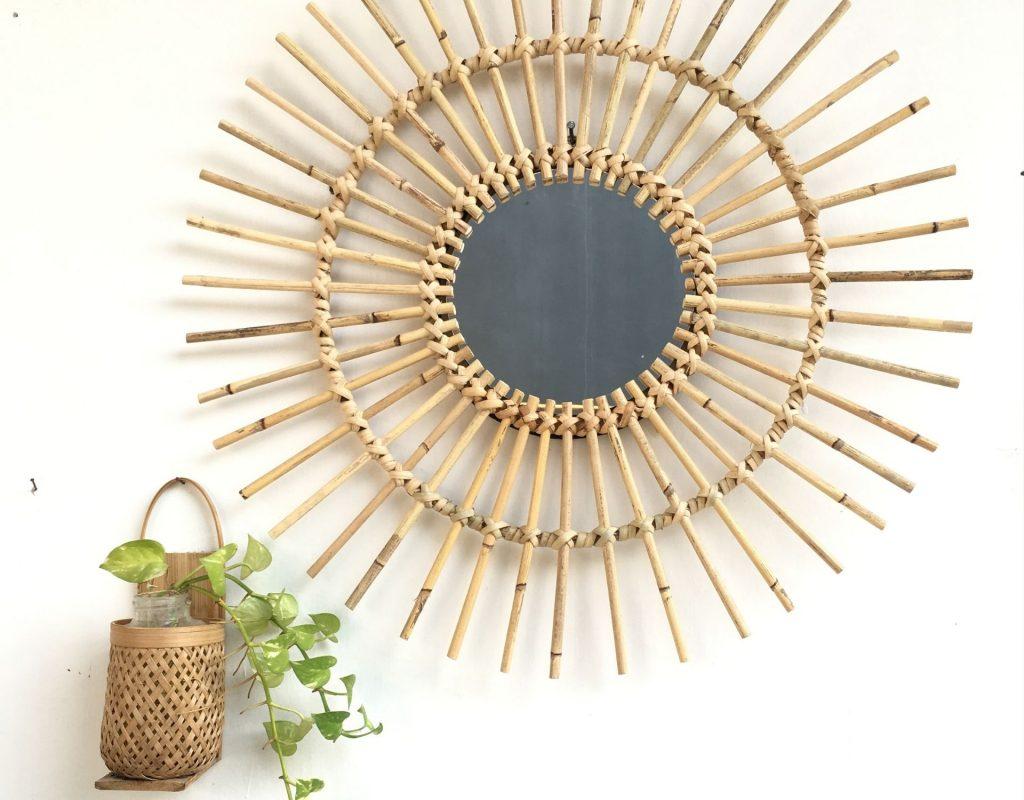 spiegel rattan pflanze minimalistisch