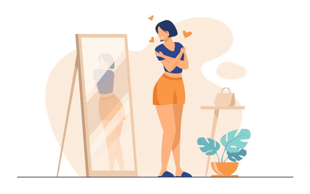 Illustration, rücken, frau, spiegel, body positivity, selflove