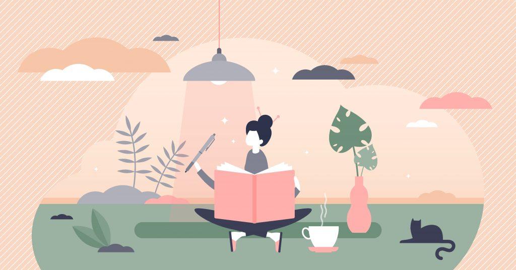 dankbarkeitstagebuch gratitude journal illustration tagebuch meditieren