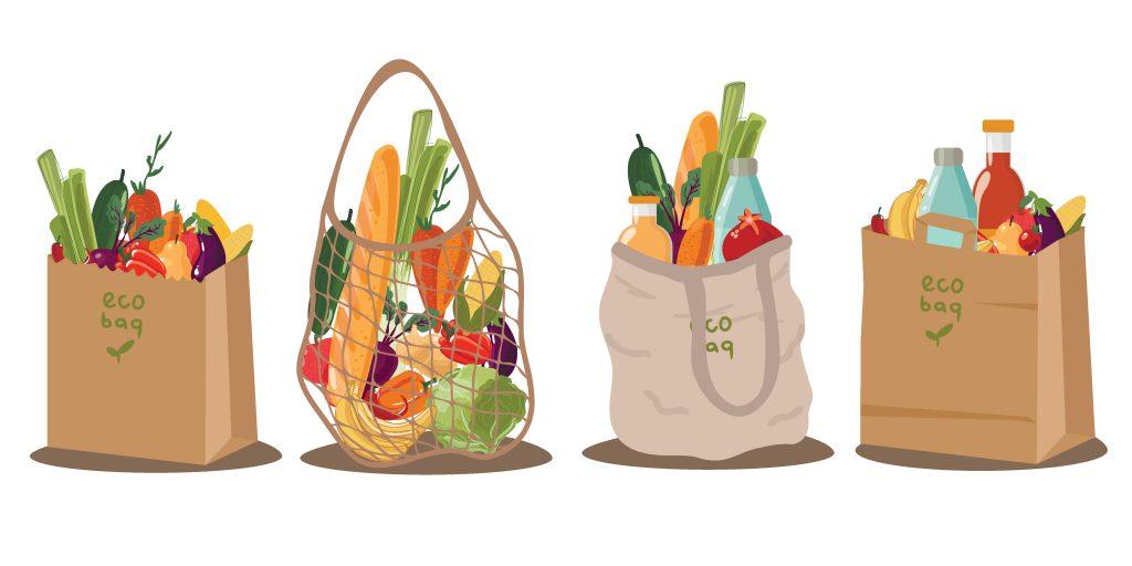 einkaufstasche lebensmittel obst gemüse