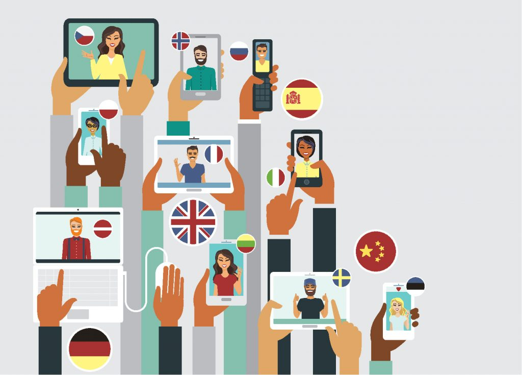 Sprachlern-Apps, neue sprache lernen, illustration
