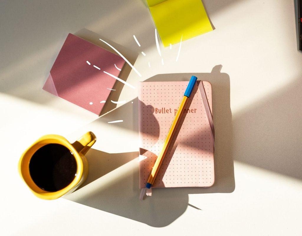 Bullet Journal mit Kaffee