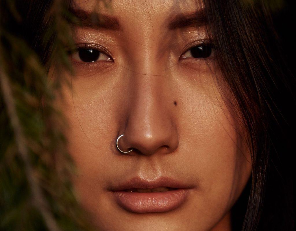 frau mit nostril, native american, beauty, haut