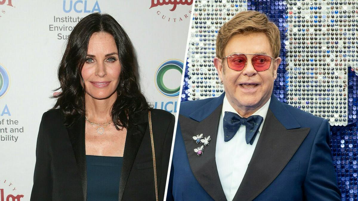 Hätten glatt auch Duett-Potenzial: Courteney Cox und Elton John. © [M] Admedia/Landmark-Media/Imagecollect.com