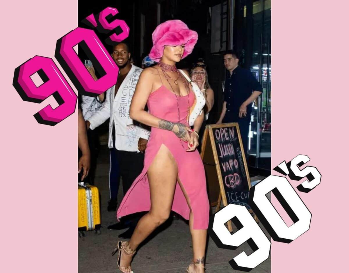 Rihanna ganz in Pink gekleidet