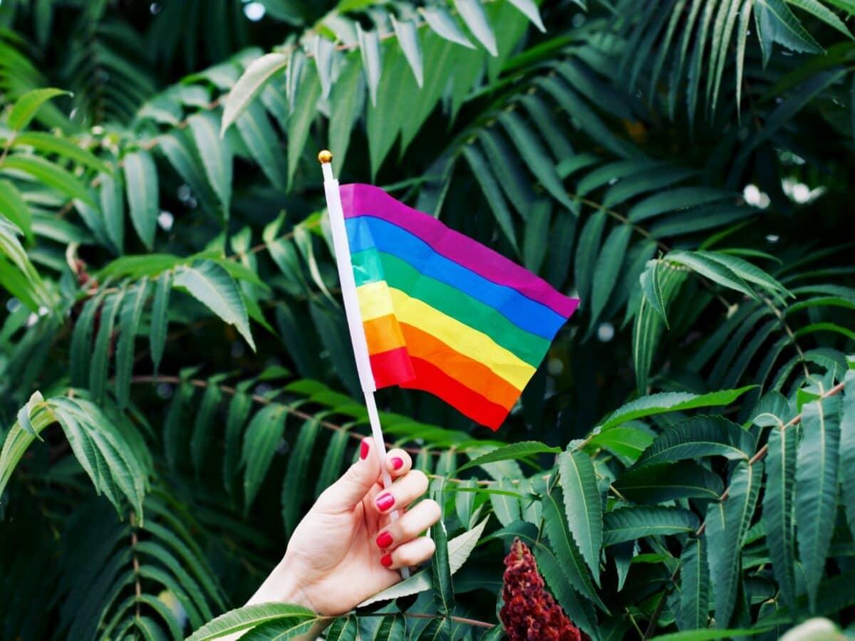 Frau hält Pride Flag