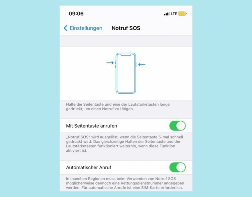 Screenshot Notruf-Funktion iOS