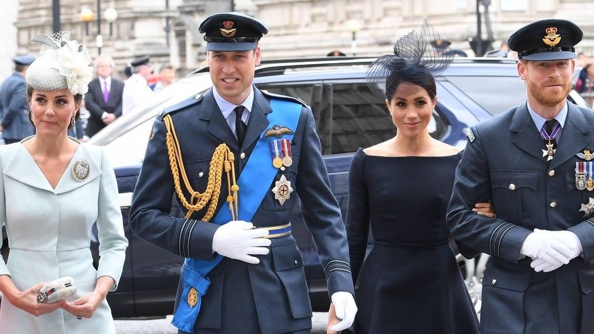 Die Söhne von Prinzessin Diana mit ihren Ehefrauen (v.l.): Herzogin Kate und Prinz William