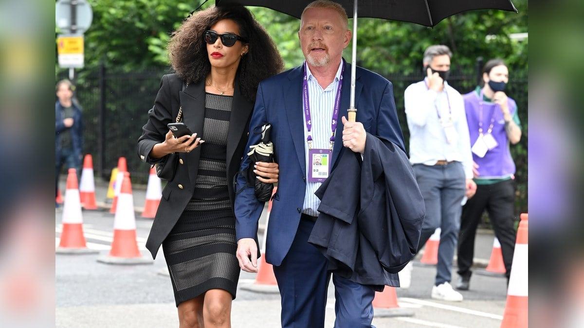Boris Becker mit Lilian De Carvalho Monteiro auf dem Weg zum Tennisturnier in Wimbledon.. © getty/[EXTRACTED]: Karwai Tang/WireImage
