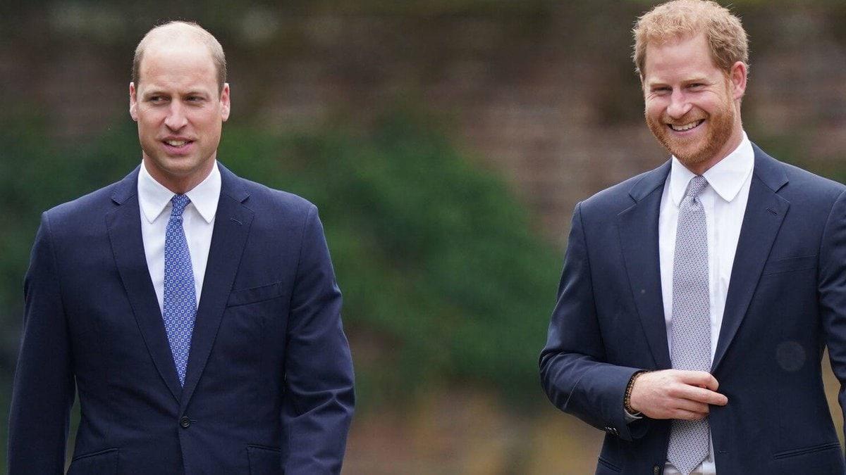 Prinz William (l.) und Bruder Harry am 1. Juli auf dem Gelände des Kensington-Palasts.. © imago images/i Images
