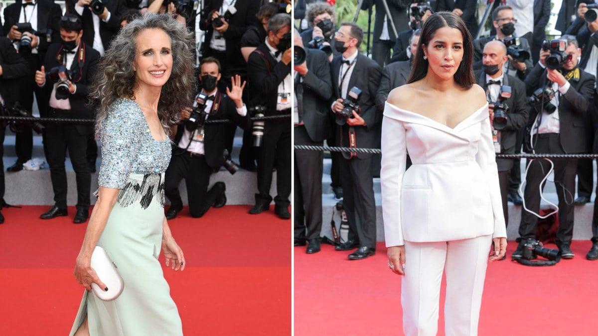Andie MacDowell und Leila Bekhti legten einen eleganten Auftritt in Cannes hin.. © imago/PA Images / getty/[EXTRACTED]: Stephane Cardinale - Corbis/Corbis via Getty Images