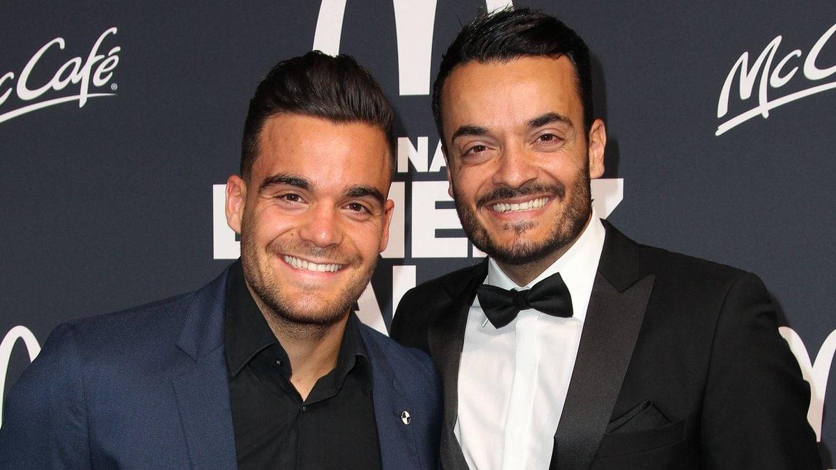 Stefano Zarrella (l.) mit seinem großen Bruder Giovanni Zarrella bei einer Veranstaltung 2018.. © imago/Spöttel Picture