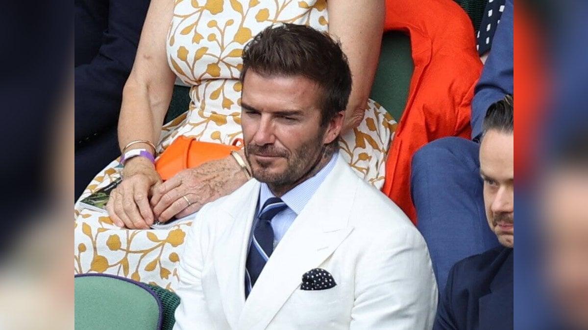 David Beckham auf der Tribüne in Wimbledon.. © imago/i Images