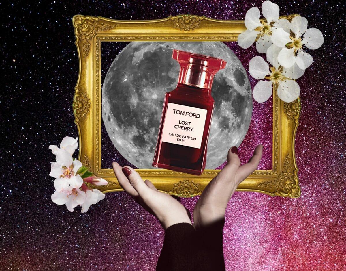 Collage mit Sternzeichen und Parfüm