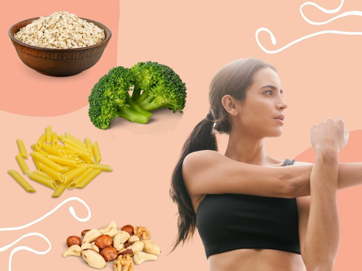Pflanzliches Protein und Frau Sport