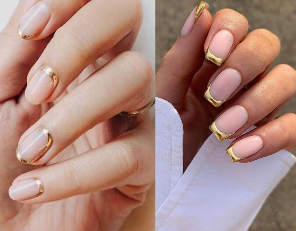 Gold French Nails