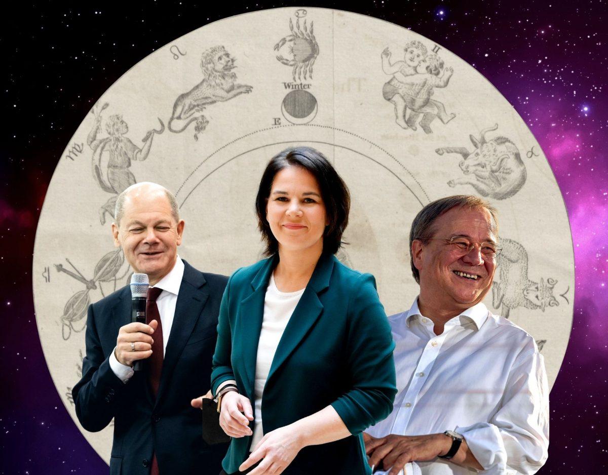 die Budnestagswahl im Horoskop armin laschet annalena baerbock olad scholz